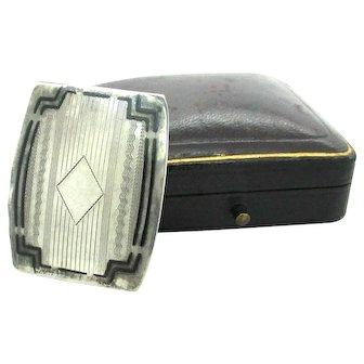 Vintage Art Deco Sterling Silver & Black Enamel Belt Buckle