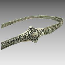 Vintage Tibet Braided Wire Belt w/ Handmade Buckle Adjustable