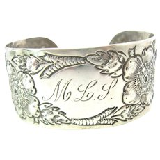 Victorian Sterling Silver Floral Repousse Cuff Bracelet