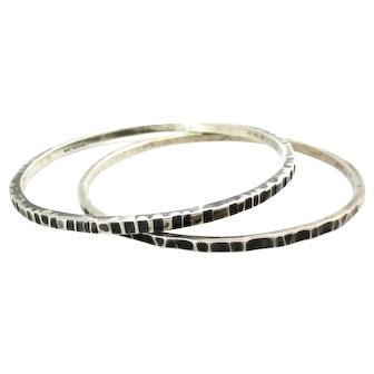 Hand Wrought Sterling Silver Bangle Bracelets by C. Leslie Smith