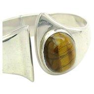 Modernist Taxco Mexico Sterling Silver Tiger's Eye Bracelet