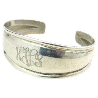 Vintage Sterling Silver Monogram KVS KSV Cuff Bracelet