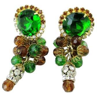 Deluxe Vintage Hobé Green Glass & Rhinestone Rondelle Beaded Earrings