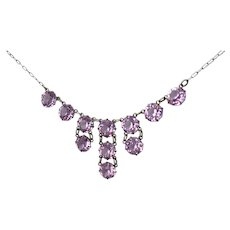 Vintage Art Deco Amethyst Crystal Sterling Silver Drop Necklace