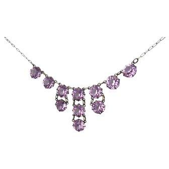 Vintage Art Deco Amethyst Crystal Sterling Silver Drop Necklace