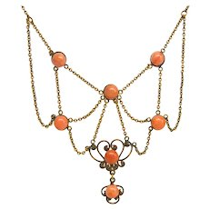 Antique Victorian Coral Festoon Necklace