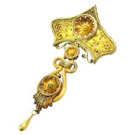Mid Victorian 14K 18K Gold Etruscan Revival Brooch
