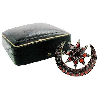 Antique Bohemian Garnet Crescent Moon & Star Brooch