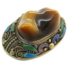 Chinese Export Enamel Silver Tiger's Eye Brooch