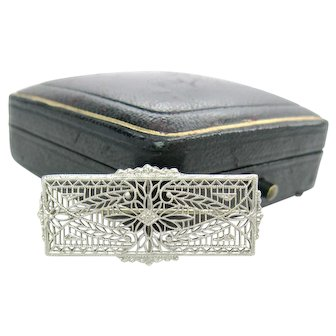 Antique Edwardian Platinum & 14K White Gold Filigree Brooch
