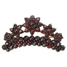 Antique Bohemian Garnet Floral Crown Brooch