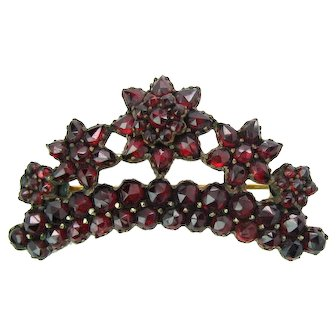 Antique Bohemian Garnet Floral Crown Brooch