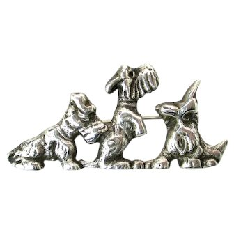 Vintage Sterling Silver Playful Scottie Dogs Brooch