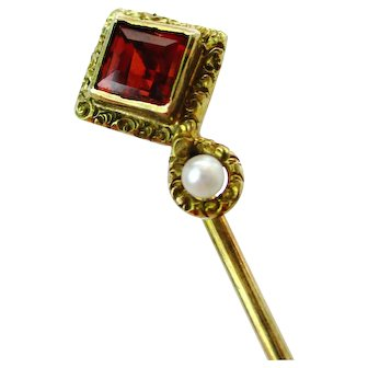 Antique 14K Gold Garnet & Pearl Stick Pin