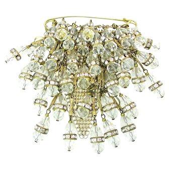 Vintage Crystal Beaded Rhinestone Rondelle & Chainmail Mesh Brooch