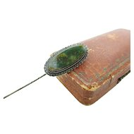 Antique Victorian Bloodstone Sterling Silver Stick Pin