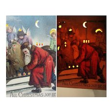 Antique Christmas Hold To Light Santa Claus Postcard