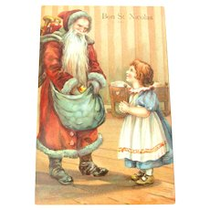 Antique Old World Santa Claus Christmas Postcard with Little Girl