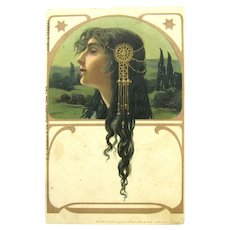 "Antique Art Nouveau Postcard Jugendstil ""Regina"" by Unknown Artist Germany"