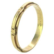 Art Deco 14K Gold Carved Wedding Band Size 11