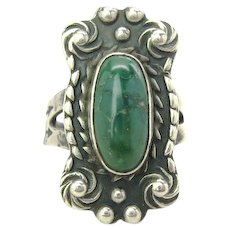 Vintage Southwestern Style Turquoise Sterling Silver Ring