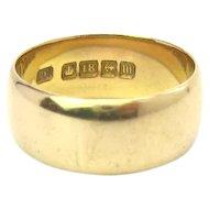 Antique Edwardian 18K Gold Wide Band Wedding Ring, 1911 Birmingham