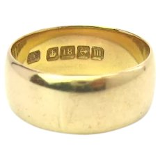 Antique Edwardian 18K Gold Wide Band Wedding Ring, 1911 Birmingham