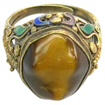 Chinese Export Enamel Tiger's Eye Sterling Silver Gilt Ring