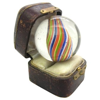 Large Glass German Marble Bead Round African Trade Lauscha Germany 1800s Cameroon