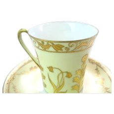 Antique Hand Painted Nippon Demitasse Tea Cup & Saucer