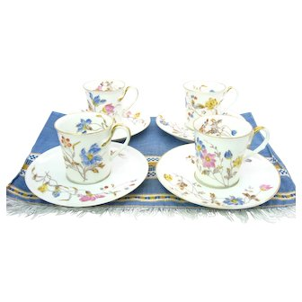 Limoges Bawo Dotter Demitasse Tea Cups Set of 4 Pre Elite Mark