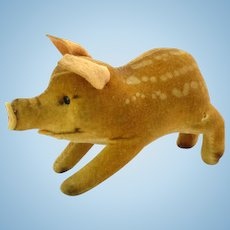 Steiff Velveteen Pig Baby Spotted Boar Stuffed Animal