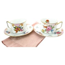 "Art Deco Floral Tea Cups Set of 2 Epiag ""Bridal Rose"" Czechoslovakia"