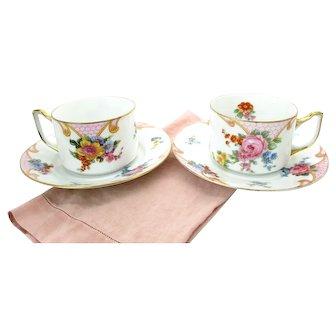 "Art Deco Floral Tea Cups Set of 2 Epiag ""Bridal Rose"" Czechoslovakia"