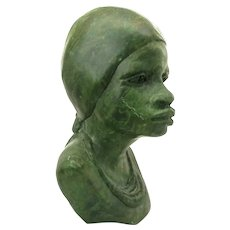 Vintage South African Verdite Woman's Bust Sculpture by Barnabas Fombe