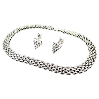 Vintage Sterling Silver Panther Chain Necklace & Earring Set