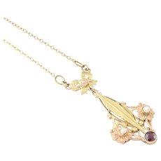 Edwardian 10k Gold Pendant Necklace Antique Lavaliere