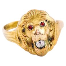 Antique 10k Gold Victorian Lion Ring |  Victorian Men's Ring
