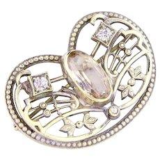 Vintage 10k White Gold Art Deco Brooch   1920s Pale Pink Art Deco Pin