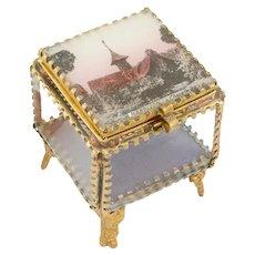 Antique French Casket Box Fontainebleau 1800s antique box Antique Brass Glass box