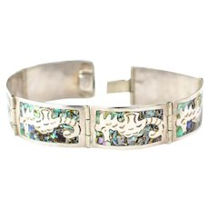 Vintage Seahorse bracelet Sterling Silver Abalone Shell Bracelet Vintage Taxco bracelet
