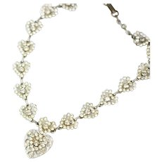 Vintage 1940s Necklace | Vintage Heart Rhinestone Necklace | 1940s Jewelry