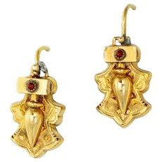 Antique 14k Gold Earrings Victorian Earrings Antique Earrings Garnet earrings Fine antique jewelry