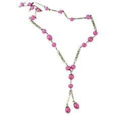 Vintage Pink Art Deco Necklace | Czech Glass Necklace | Lariat Necklace 1920s Sautoir