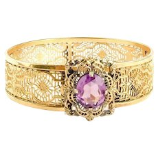 Vintage Purple and Gold Filled Art Deco Bracelet | 1930s Bracelet | Art Deco Bangle Bracelet