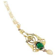 Antique Edwardian Pendant Necklace | 10k Gold Antique Lavaliere | Antique Emerald Green 10k Pendant | 10k Antique Pendant