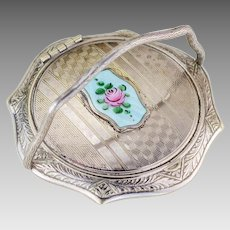 Vintage Compact | Art Deco Compact | Art Deco White Gold Plated Silver Compact