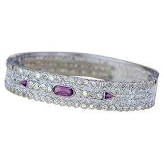 Vintage Filigree Bracelet | Amethyst Purple Silver Bangle | Art Deco Bracelet