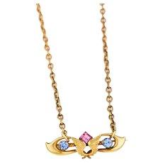 Antique Edwardian Pendant Necklace   Antique Brooch Pendant   Pink Blue Antique Edwardian Necklace   Gold Wings Pendant