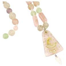 Vintage 1920s Egyptian Revival Necklace Art Deco Egyptian Necklace Pink Gold Czech glass Egyptian Necklace